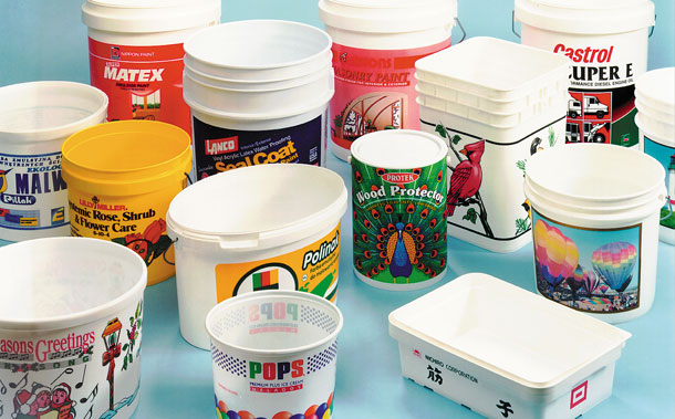 Buckets, Pails & Tubs printed on Desco Printing machines